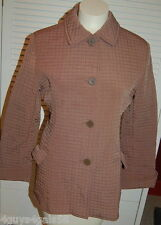 Womens Jacket BROWN QUILTED DRESS COAT Cuffed 3/4 Sleeve BRAETON Small