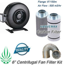 "6"" Inline Exhaust Duct Fan Dual Layers Aluminum Duct Carbon Filter Ventilation"