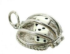 VINTAGE SILVER OPENING DICE IN CAGE CHARM