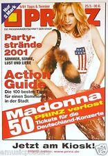"""MADONNA 2001 GERMAN """"PRINZ MAGAZINE"""" POSTER - Wearing Harley Davidson #1 Shirt"""