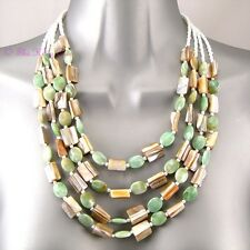 Boho Gypsy Ethnic Green Mop Paua Shell Teeth Mother O Pearl Bib Feature Necklace