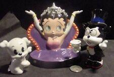 BETTY BOOP PORCELAIN SALT & AND PEPPER SHAKER diner dog bimbo cat 75th 2005 new
