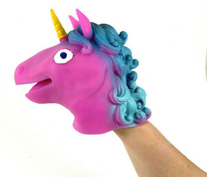 UNICORN Hand Puppet Stretchy Rubber Schylling Pink or Blue