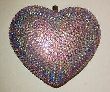 NIB Crystal Evening Bag Clutch Hand Bag made with Swarovski Elements Heart AB