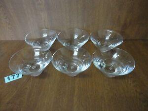 6 Bubble Base Crystal Sundae Dishes / Dessert Bowls  Krosno / Kosta / Holmegaard