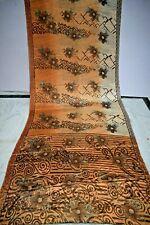 Vintage Brown Print Saree Crepe Silk Soft Craft Making Arts Dress Sari Fabric