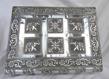 Large Embossed Indian Style Silver Metal Locking Jewellery Box - BNIB - SECONDS