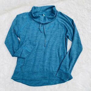KUHL Womens Size XL Lea Pullover Teal Blue Cowl Neck Sweatshirt Kangaroo Pocket