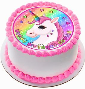 "EDIBLE Glitter Hearts Unicorn Personalized Cake Topper Image Decoration 7.5"""