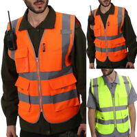 Hi Vis Safety Vest High Visibility With Pockets Zipped Yellow Orange Waistcoat.