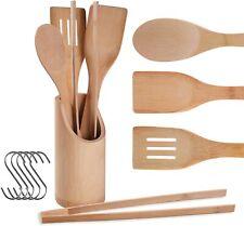 Wooden Spurtle Set 4 Pcs Natural Teak Wooden Cooking Utensils with Holder 4pcs