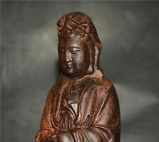 GENUINE KALIMANTAN NATURAL AGARWOOD KWAN YIN BUDDHA GUANYIN STATUE ALOESWOOD