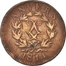 [#16047] FRENCH STATES, ANTWERP, 10 Centimes, 1814, Anvers, TB