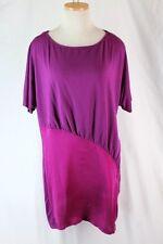 MICHAEL STARS Tunic Jersey Knit Silk Top Mini Dress MEDIUM Berry Pink Short SL