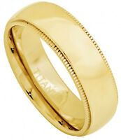 7mm Titanium Ring Men Wedding Band Domed Yellow Gold Plated with Milgrain Design