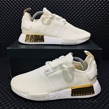 Adidas Originals NMD R1 Women's Running Shoes Ivory Gold Athletic Boost Sneakers