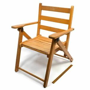 Vintage CHILD-SIZE WOOD FOLDING CHAIR The Cutest! STRAP-BACK STYLE for Doll/Bear