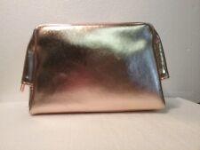 BARE MINERALS NEW PINK GOLD SHIMMERY ZIPPER BM PULL  COMESTIC POUCH / BAG / TOTE