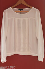 NWT Adrianna Papell Elegant Ivory White Long Sleeve Pintuck Blouse Top L $129