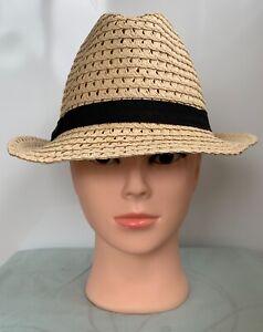 * MONSOON ACCESSORIZE * Womens Beige Paper Straw Fedora Hat with Black Trim 55cm