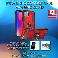 Shockproof Case For iPhone 11 Pro Max SE XR - 2-in1 With Magnetic Ring Stand