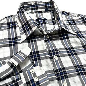 Burberry London 2XL Button Down Classic Shirt Mens Check Plaid USA Made Cotton