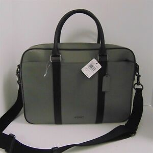 New Coach F39209 $595rt Gray Black Leather Slim Laptop Briefcase Messenger Bag
