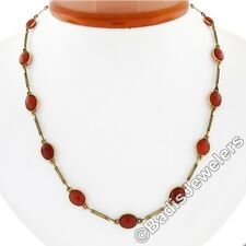"Antique Hand Made 14k Gold 17.5"" Bezel Cabochon Carnelian Twisted Wire Necklace"