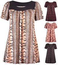 Womens Plus Size Short Sleeve Animal Floral Print Ladies Smock Top 16 - 28