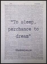 Shakespeare Cita to sleep PERCHANCE A Dream Vintage Diccionario Página Impreso