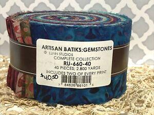 "Robert K. Artisan Batiks Gemstones Jelly Roll Cotton Fabric 40 - 2.5x44"" Strips"