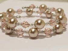 Pink and Gold Beaded Women's Bracelet-Handcrafted, Brand New