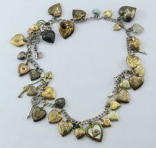 Vintage Sterling Silver & Gold Filled Locket Heart Loaded 41 Charm Necklace