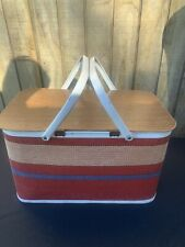 Vintage Redmen Striped Metal Picnic Basket Retro Mid century