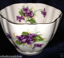 VICTORIA CHINA ENGLAND 340 OPEN SUGAR BOWL 6 OZ VIOLETS & YELLOW FLOWERS