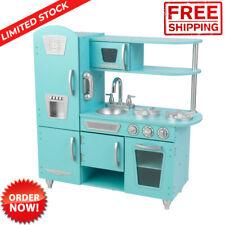 Vintage Play Kitchen Set Wooden Toy Kids Freezer Microwave Sink Pretend Playset