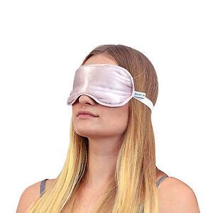 Jasmine Silk Reine Seide Gefüllt Schlaf Augenmaske Schlafen Ösen Augenbinde Pink