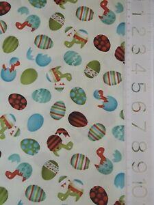 SuZQ Fabrics Cotton Quilt dinosaur kids eggs blue orange green SCRAP