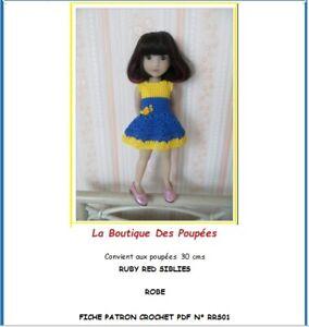 Fiche patron crochet N°RRS01: tuto vêtement crochet poupée 30cms Ruby Red Siblie