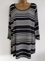 NEW Plus Size 16-28 Monochrome Black & White Striped Tunic Top Blouse