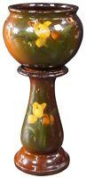 Antique Victorian Majolica Jardiniere & Pedestal Planter Set Glazed Art Pottery