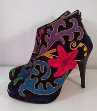 Women's Zeyzani Black Velvet Embroidered Ankle Stiletto Heel Boots Size 38/7.5-8
