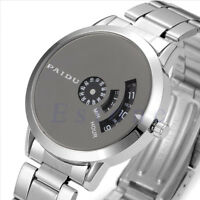 Luxury Mens Silver Stainless Steel Black Dial Quartz Analog Sport Wrist Watch