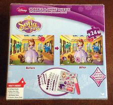 New Disney SOFIA the FIRST Sparkle & Shine Puzzle 24 pc w/  Stickers, Gems, Glue
