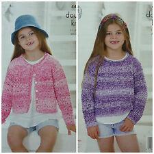 Knitting pattern ragazze manica lunga scollo tondo Cardigan & Maglione Cotone DK KC 4462