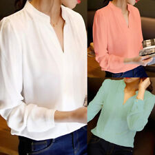 Fashion Women Tops Long Sleeve Chiffon Blouse V-Neck Solid Color Office Shirts F