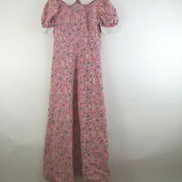 Vintage Handmade Pink Floral Maxi Dress XS Peter Pan Collar Modest