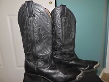 Womens Black Nocona Pointed Silver Toe Band Cowboy Boots Z4915 7501 Sz 6.5B