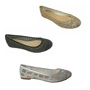 NEW Women Dress Shoes Princess Flat Shoes Casual Slip On Glitter Wedding Size