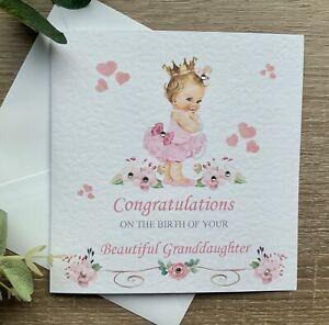 New Grandparents Card Congratulations New Granddaughter Grandma Baby Girl Card